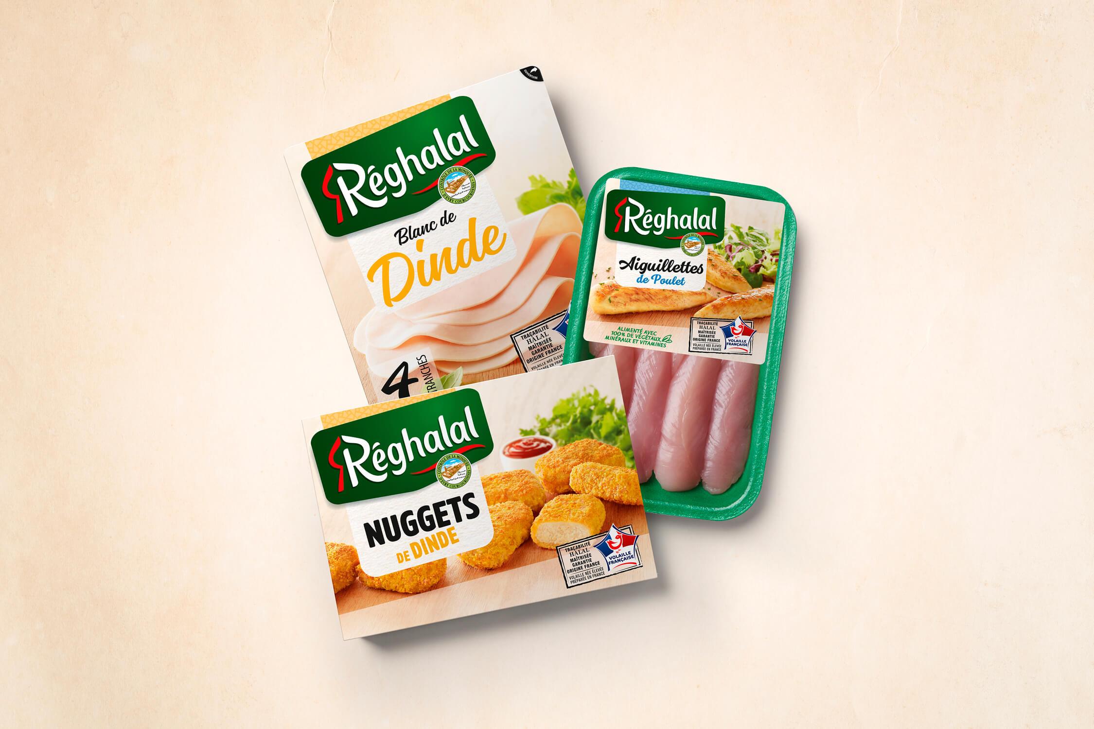 4 tranches de blanc de dinde halal, aiguillettes de poulet halal et nuggets de dinde halal