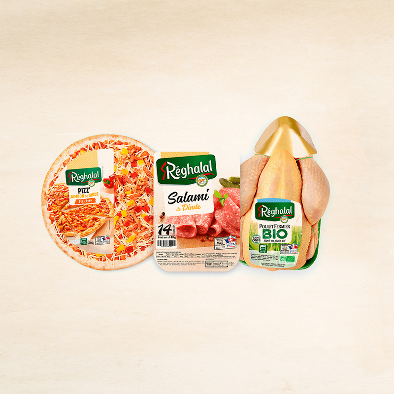 Pizza, salami de dinde et poulet fermier Réghalal