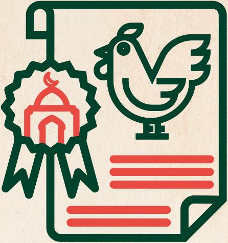 Illustration d'un poulet halal certifié par la mosqué