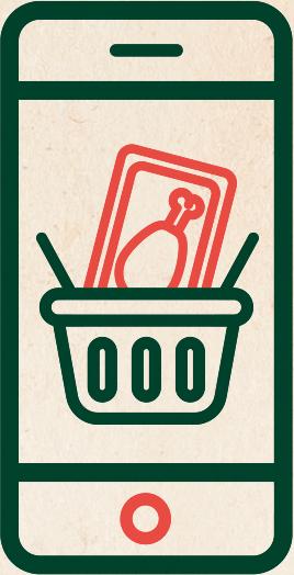 Illustration d'un poulet réghalal dans un panier afficher à l'écran d'un téléphone