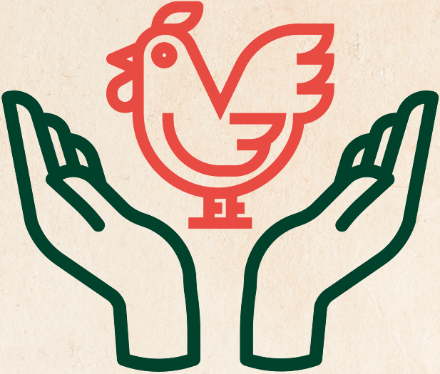 Illustration de deux mains qui tiennent un poulet halal